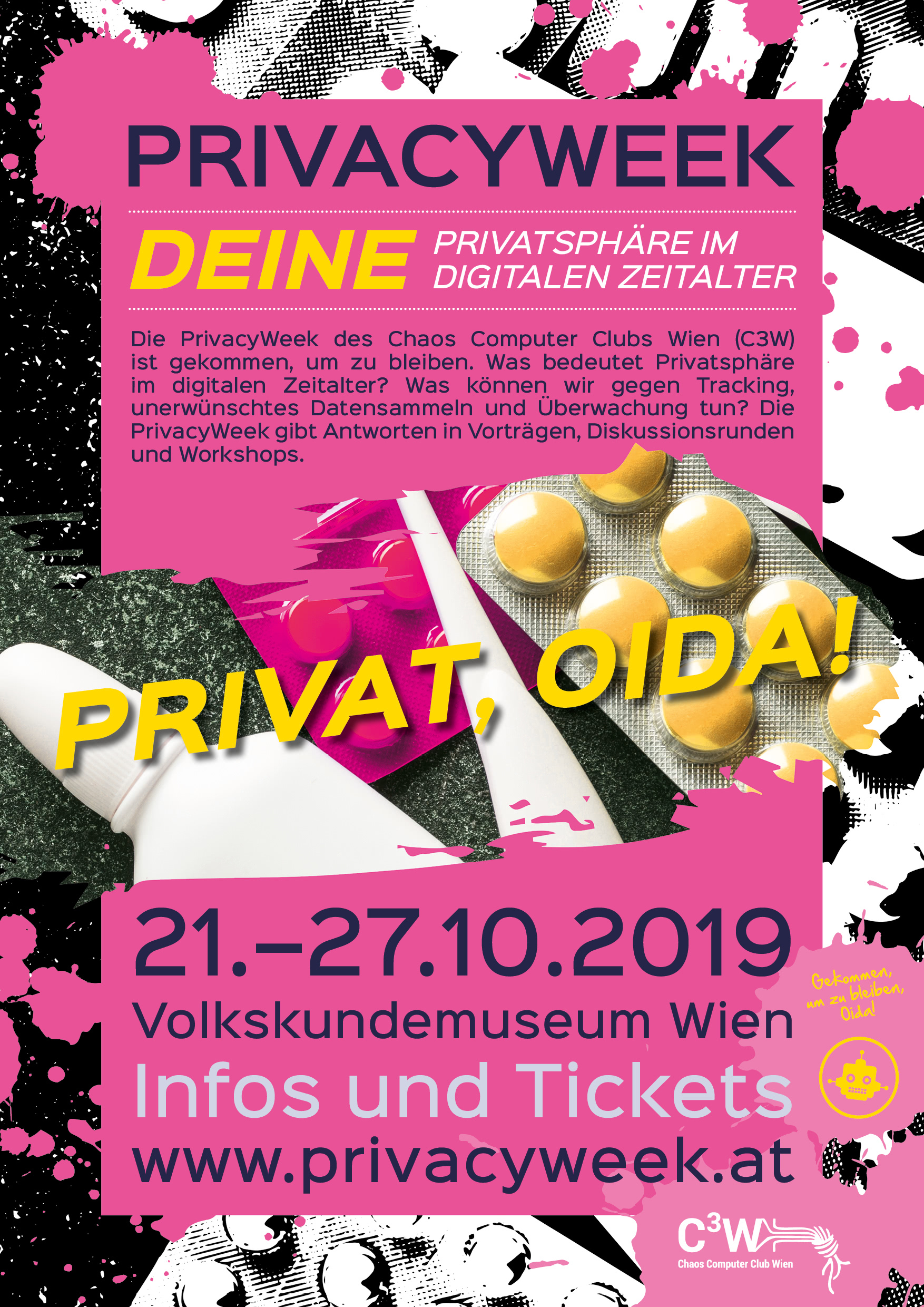 Plakat PrivacyWeek 2019: Privat, Oida!